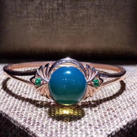 天然墨西哥蓝珀手镯,S925银镶嵌,珠子15mm图片