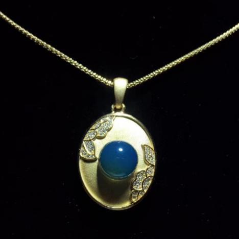 天然墨西哥蓝珀吊坠,925银镶嵌,珠子11MM图片