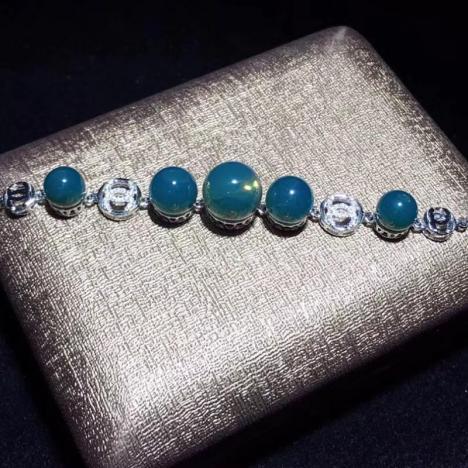 天然墨西哥蓝珀手链,S925银镶嵌,精致大气图片