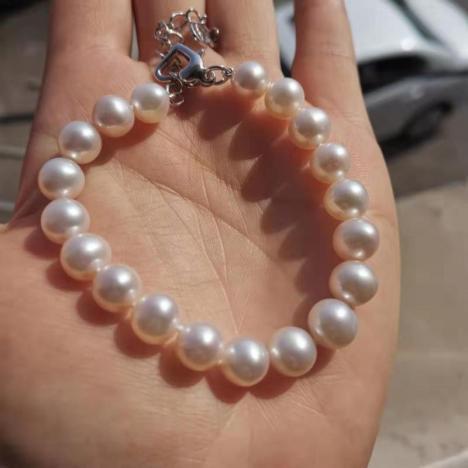 天然淡水珍珠手链,精品珍珠,银镶嵌图片