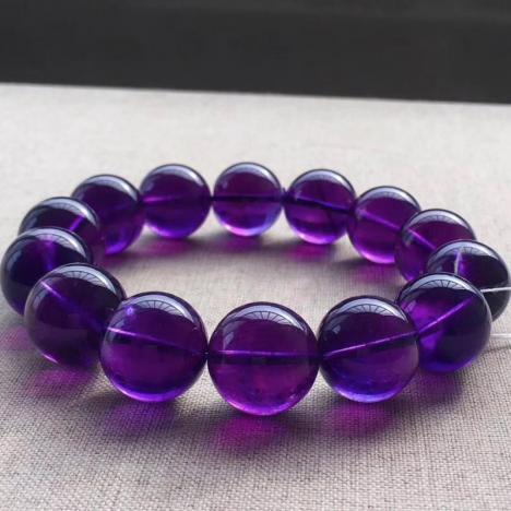 精品天然乌拉圭紫水晶手链,17.5MM,浓郁深紫图片