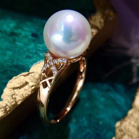 天然澳白海水珍珠戒指,正圆强珠光,18K金镶嵌图片