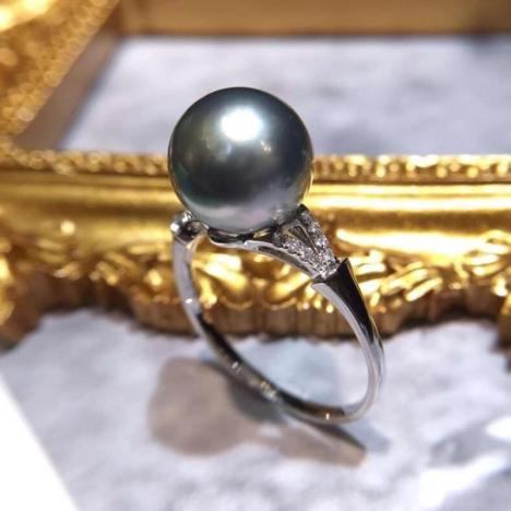 天然大溪地灰珍珠戒指,18K金镶嵌图片