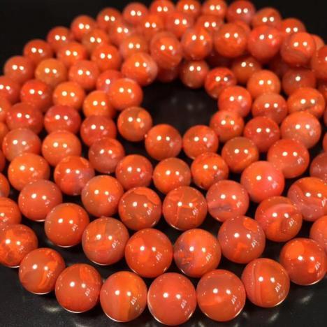 天然南红玛瑙佛珠手链项链,高性价比,9MM