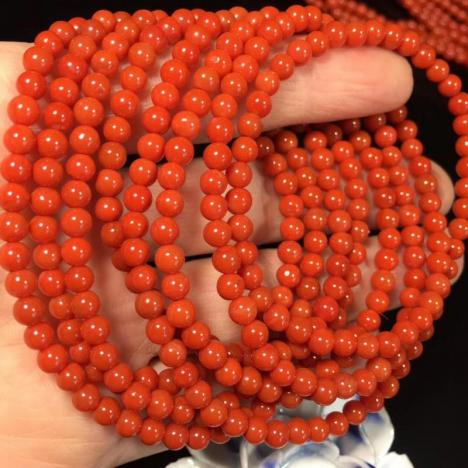 天然南红玛瑙佛珠手链项链,满肉满色,4MM