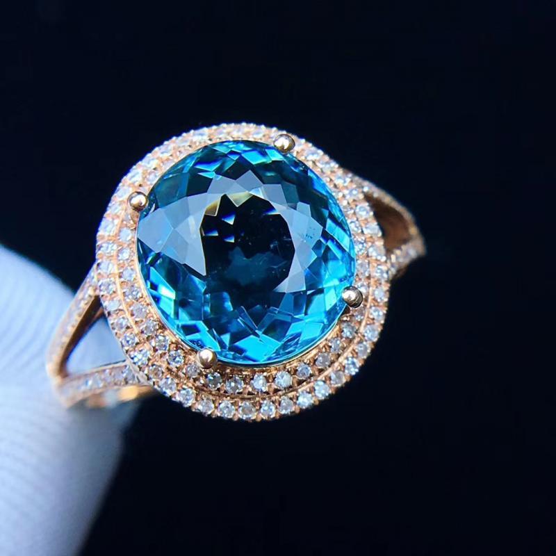 天然蓝碧玺戒指,4克拉,色彩典雅明丽