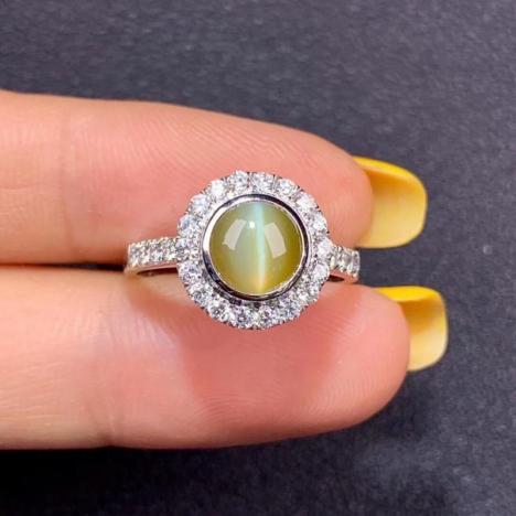 金绿猫眼石戒指,1.78ct克拉图片