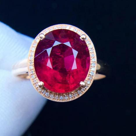 天然鸽血红碧玺戒指,4.5克拉图片
