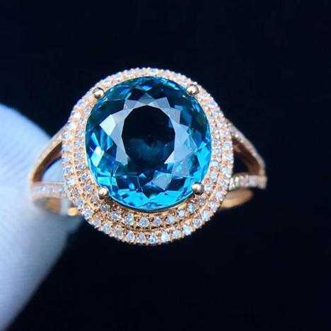天然蓝碧玺戒指,4克拉,色彩典雅明丽图片