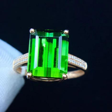 天然电光绿碧玺戒指,6克拉,晶体全净图片