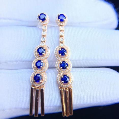 天然蓝宝石耳坠,2克拉,18K金镶嵌图片