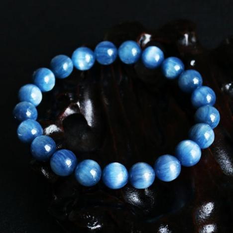 蓝晶猫眼,天然蓝晶石手链,9MM珠径,女款图片