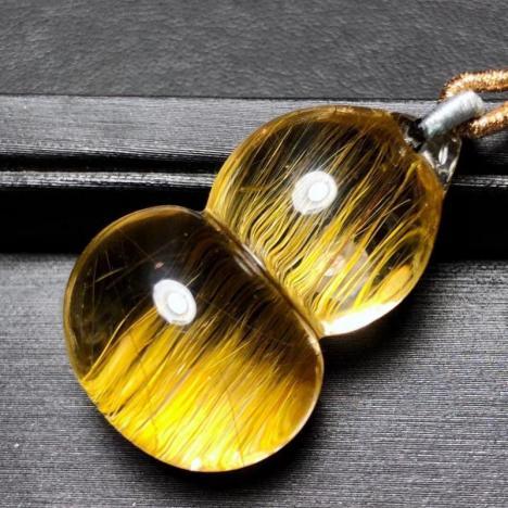 天然金发晶顺发葫芦吊坠,招财辟邪水晶,12.6克图片