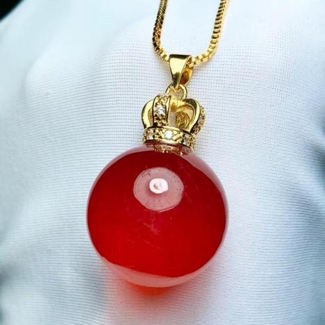 天然红兔毛红水晶转运珠,本命年必备,21MM