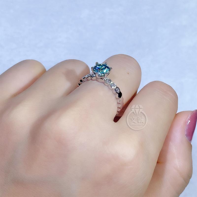 蓝钻蜂巢款莫桑钻戒指1克拉,D色VVS净度,银镶嵌,可定制18K金
