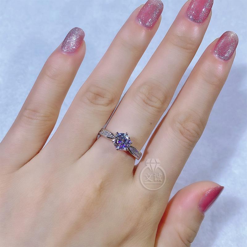 星光皇后款莫桑钻戒指1克拉2克拉,D色VVS净度,银镶嵌,可定制18K金