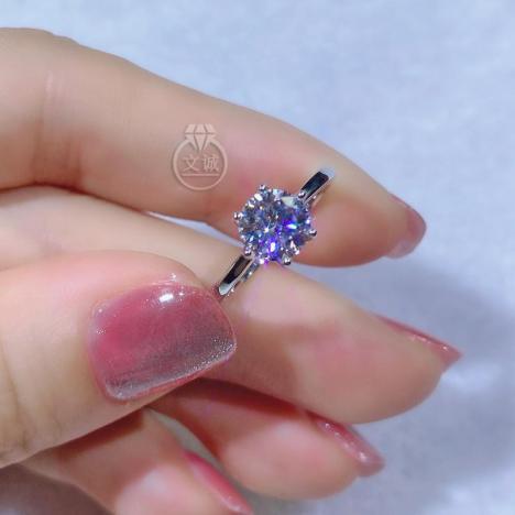 六爪皇冠莫桑钻戒指1克拉,D色VVS净度,银镶嵌,可定制18K金