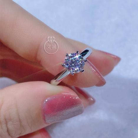 六爪加厚莫桑钻戒指1克拉,D色VVS净度,银镶嵌,可定制18K金