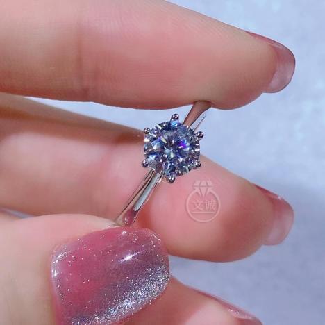 周家六爪莫桑钻戒指50分1克拉2克拉,D色VVS净度,银镶嵌,可定制18K金