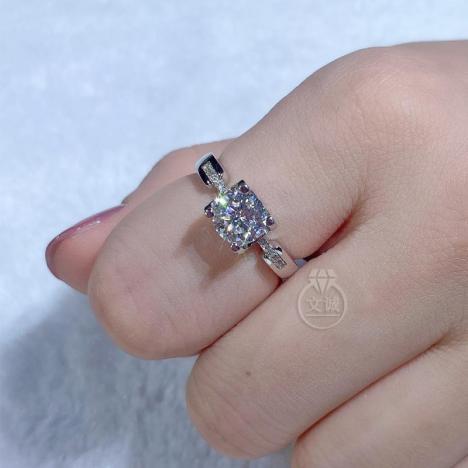 牛头小蛮腰莫桑钻戒指50分1克拉2克拉,D色VVS净度,银镶嵌,可定制18K金图片