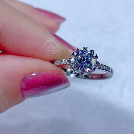 直臂雪花微镶莫桑钻戒指1克拉,D色VVS净度,银镶嵌,可定制18K金图片