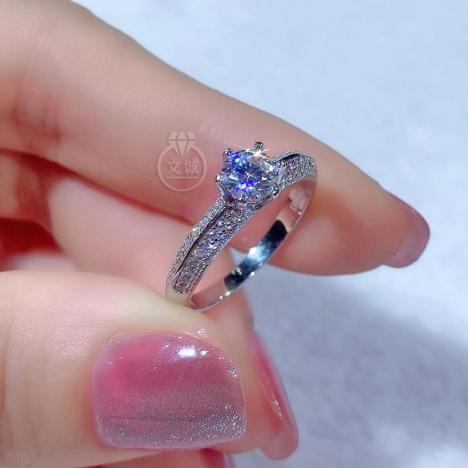 半壁江山莫桑钻戒指50分,D色VVS净度,银镶嵌,可定制18K金图片