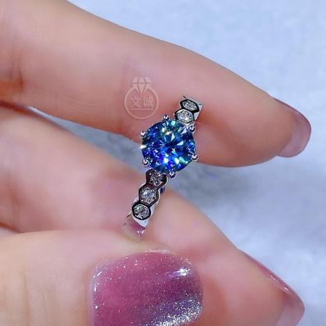 蓝钻蜂巢款莫桑钻戒指1克拉,D色VVS净度,银镶嵌,可定制18K金图片