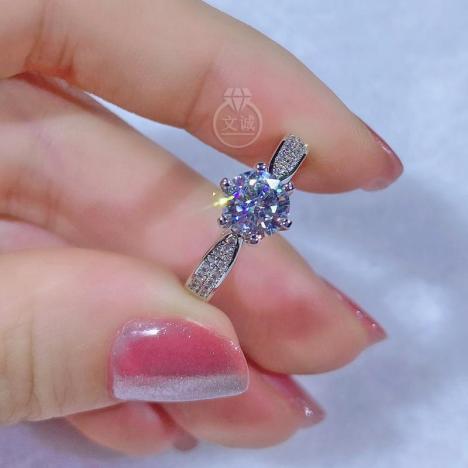 星光皇后款莫桑钻戒指1克拉2克拉,D色VVS净度,银镶嵌,可定制18K金图片