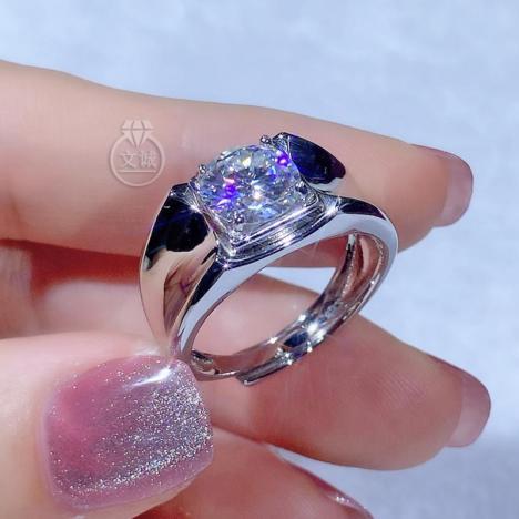 男戒商务莫桑钻戒指2克拉,D色VVS净度,银镶嵌,可定制18K金
