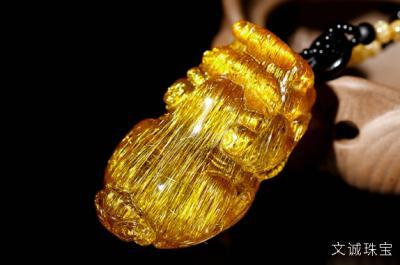 精品金发晶钛晶貔貅价格高,双重招财收藏价值也高